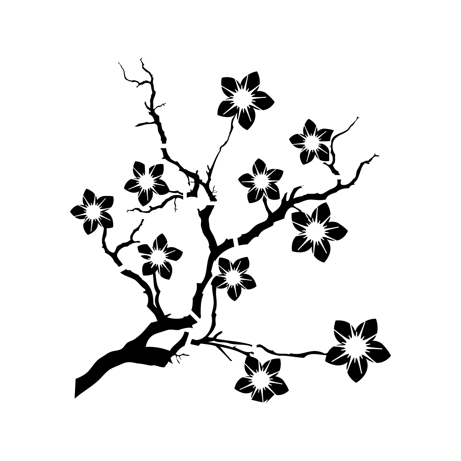 Cherry Blossom Tree Black And White: Cherry Blossom, Stencil Crafts