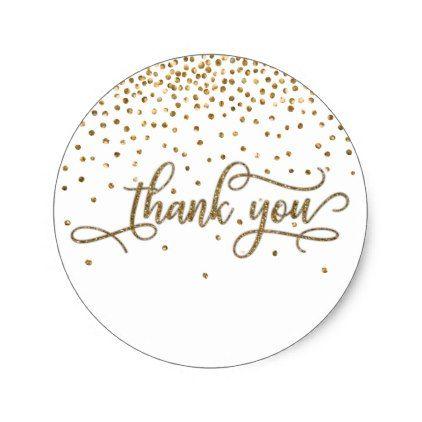 Thank you elegant script gold glitter confetti classic round sticker glitter gifts personalize gift