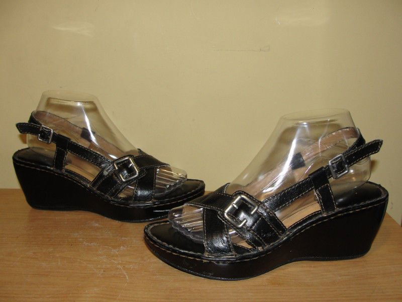 93f4ed0187a B.O.C. Born Concept Womens Black Leather Buckle Wedge Sandals  BC3338 Size 8 39   Brn  PlatformsWedges  Casual