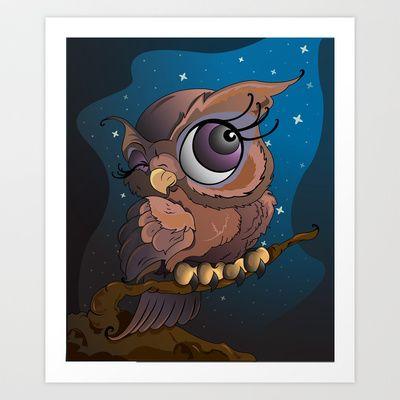 Owl+at+Night+Art+Print+by+Jordi+Hayman+Design++-+$17.68 get yours today!