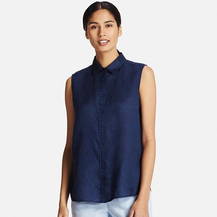 Women Premium Linen Sleeveless Shirt In 2020 Sleeveless