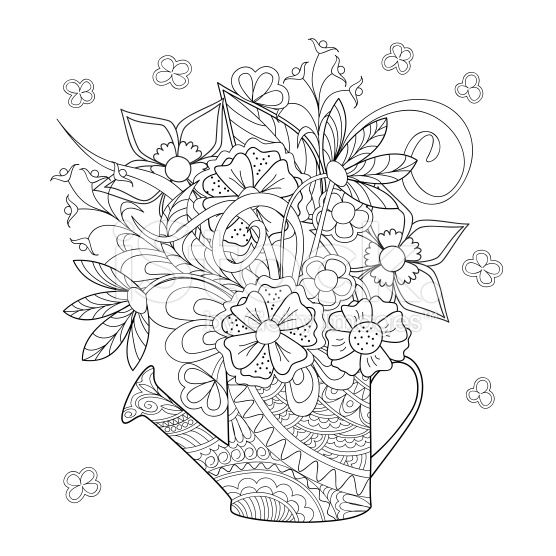 Hand Drawn Decorated Watering Can With Flowers Detailed Coloring Pages Coloring Books Free Printable Coloring Pages