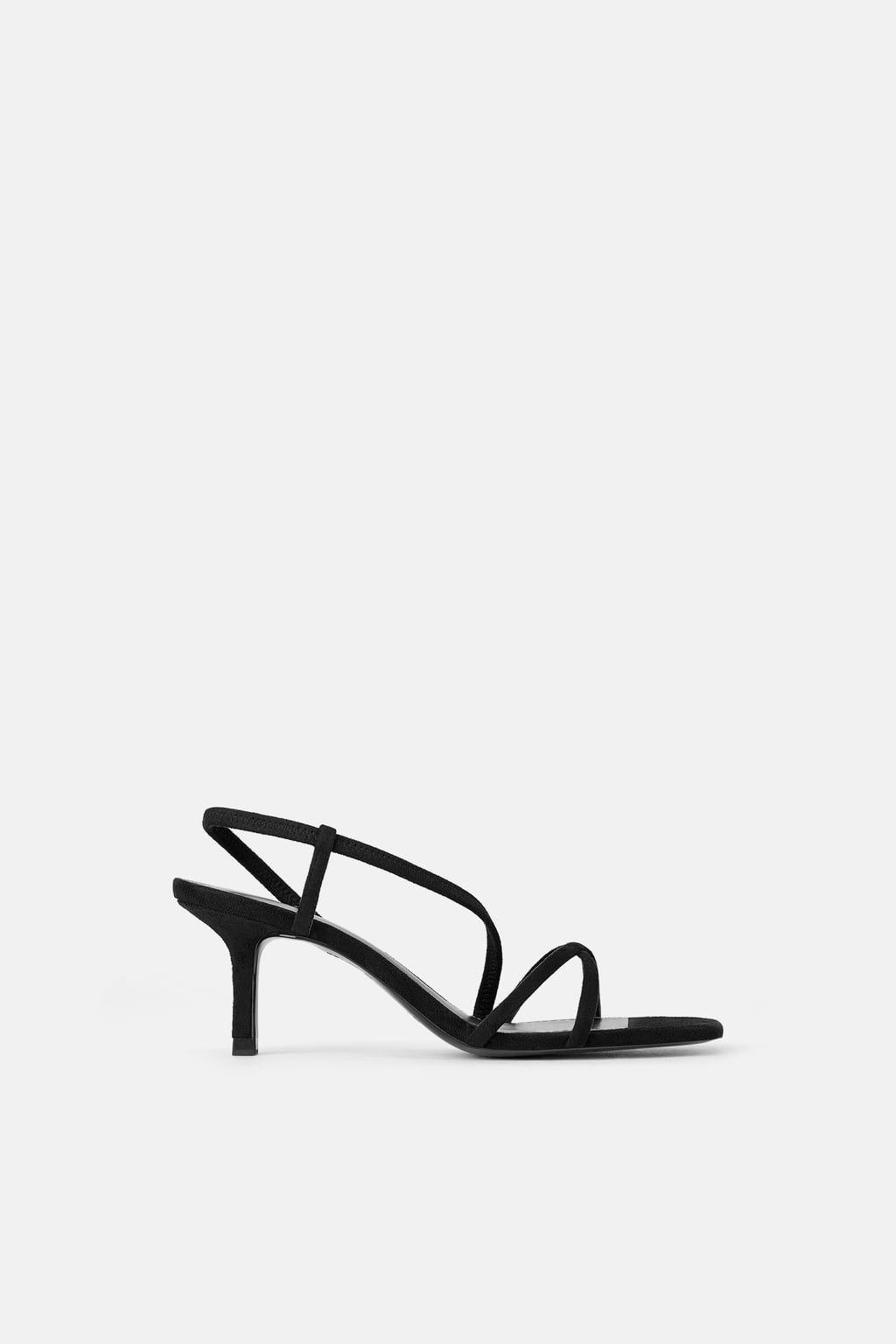 Mid heel sandals, Black strappy sandals