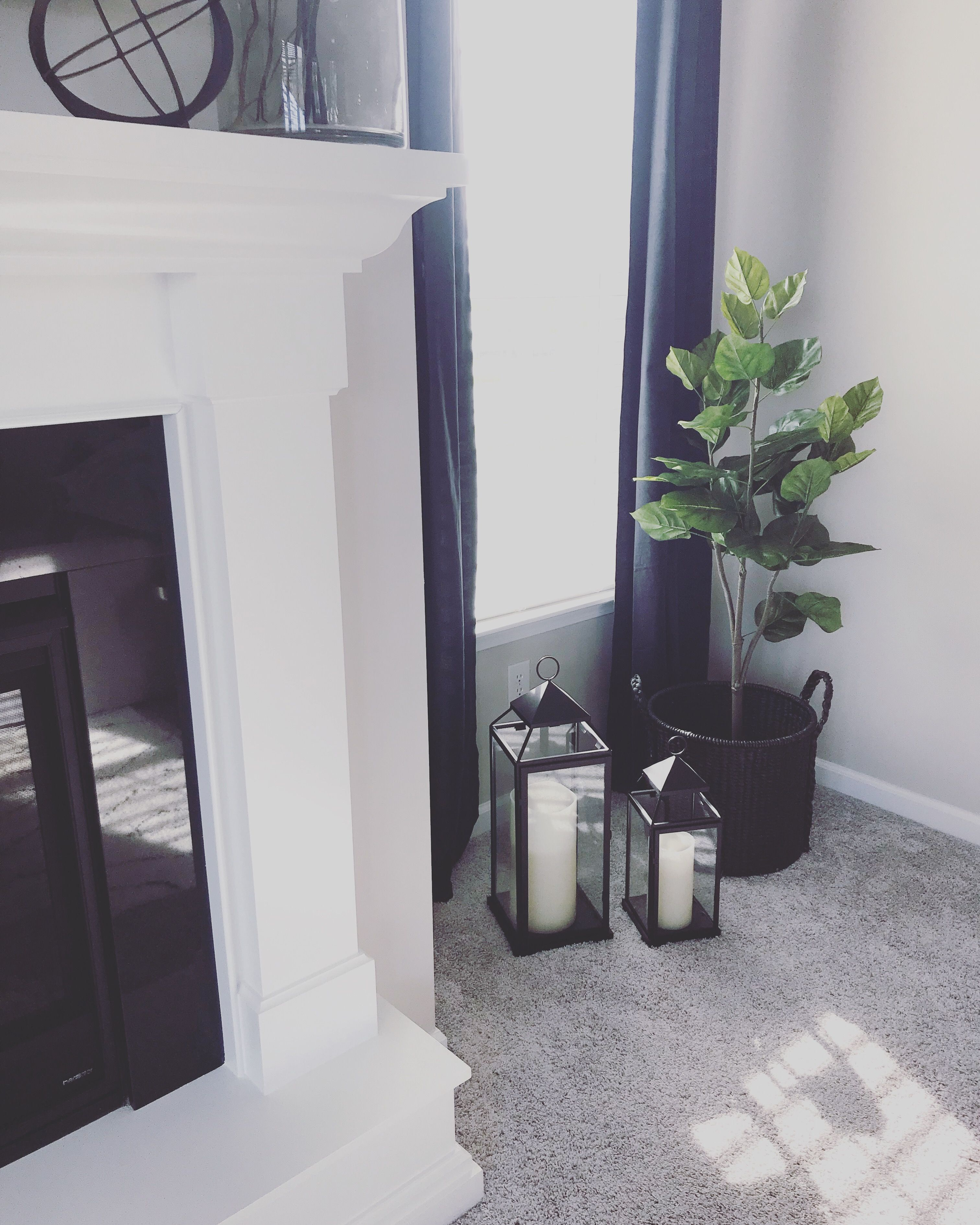 Lanterns And An Indoor Plant Can Fill Up An Empty Corner Of A Room Perfectly Homesuburbanhome Corner Decor Living Room Corner Lantern Decor Living