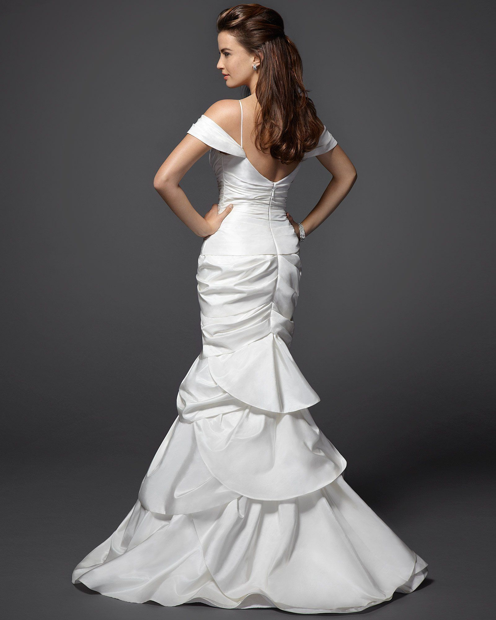 Bebe off shoulder tulip trumpet wedding dress rami kashou