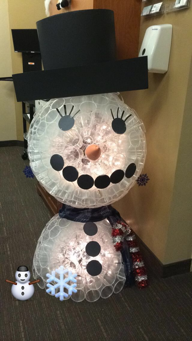 Snowman made out of plastic cups snowman pinterest for Snowman made out of cups