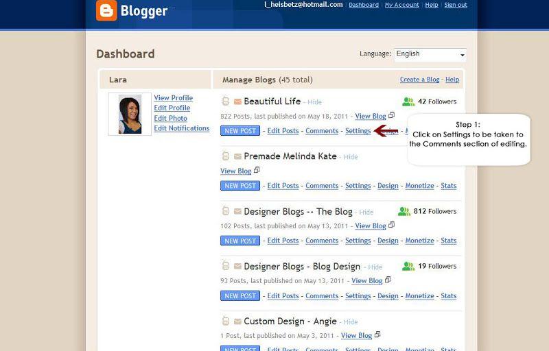 How To Moderate Comments In Blogger Designer Blogs Blogger Tutorials Blog Templates Wordpress Blogging Basics