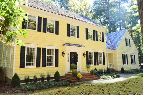 Yellow House Black Door three tiered steps | house - exterior | pinterest | window, house