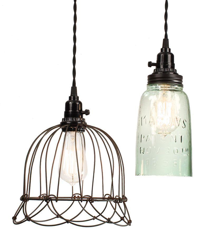 Small wire bell pendant light and Quart open bottom Mason jar ...