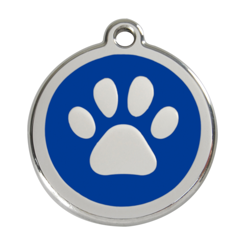 Red Dingo Stainless Steel Enamel Paw Prints Dog Id Tag Dog Id Dog Id Tags Dog Tags