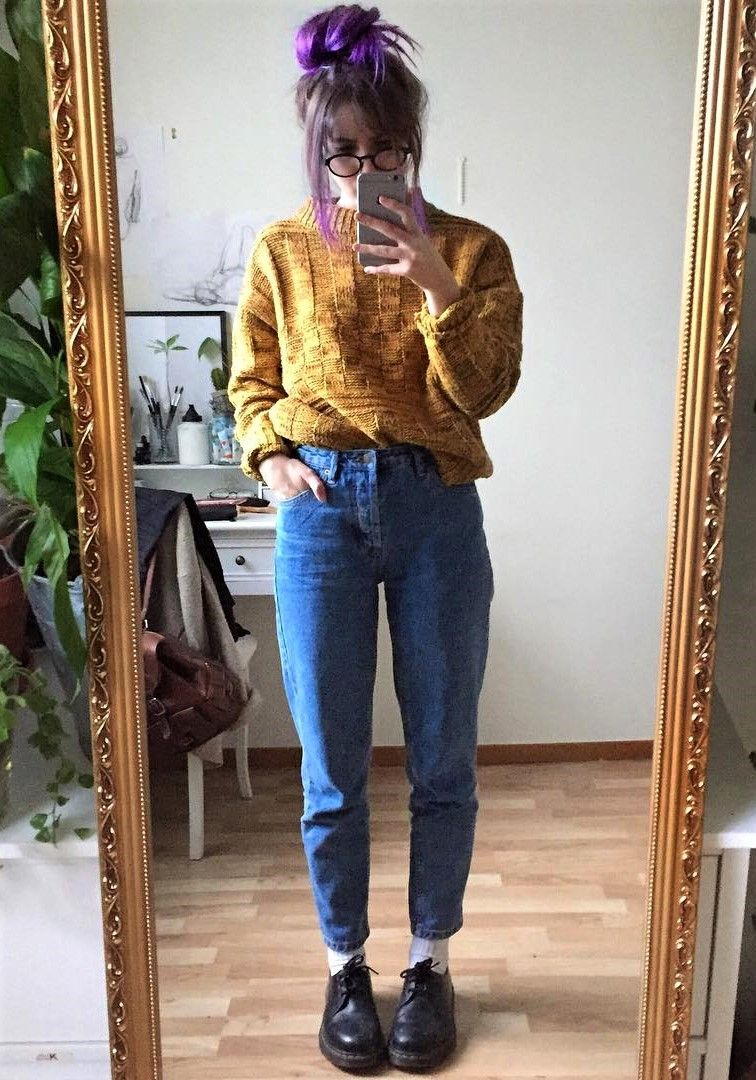 Knitted sweater, mom jeans \u0026 Dr Martens shoes by aliencreature