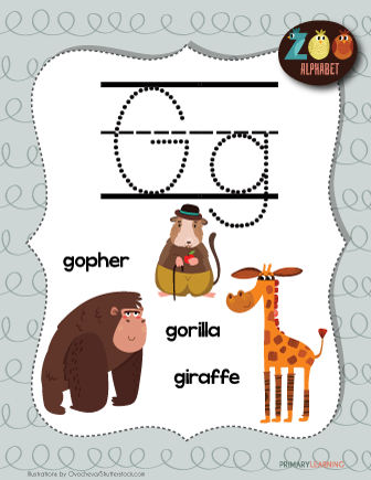 Letter G Animals Printable Poster Primary Learning Animal Alphabet Alphabet Letter Hunt Letter G