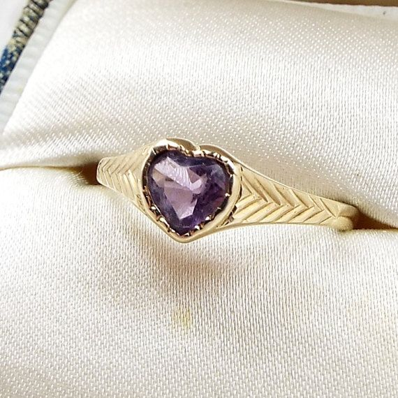 Vintage / 1989 9ct Yellow Gold Purple Amethyst by DearRoseWithLove
