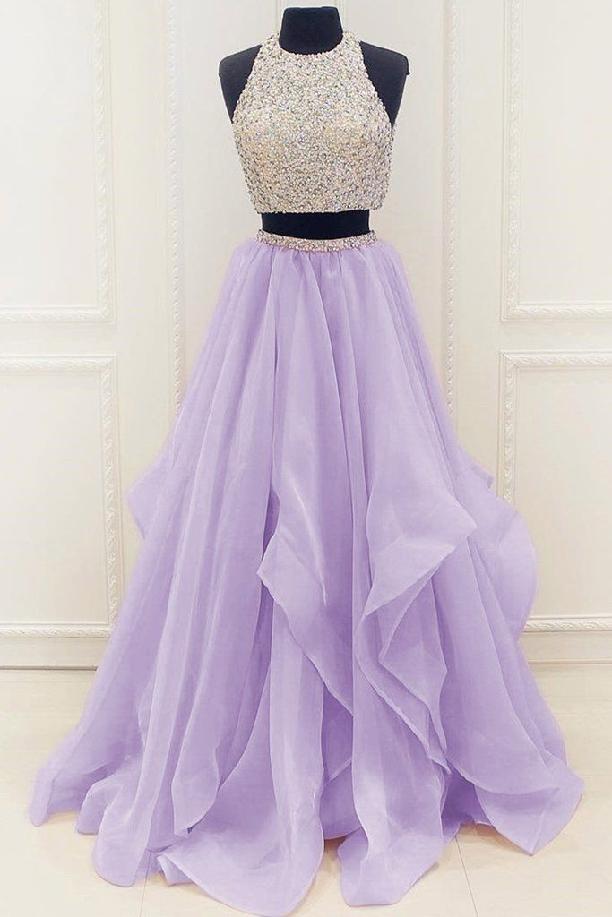 Lavander organza two pieces sequins A-line long prom dresses,simple ...