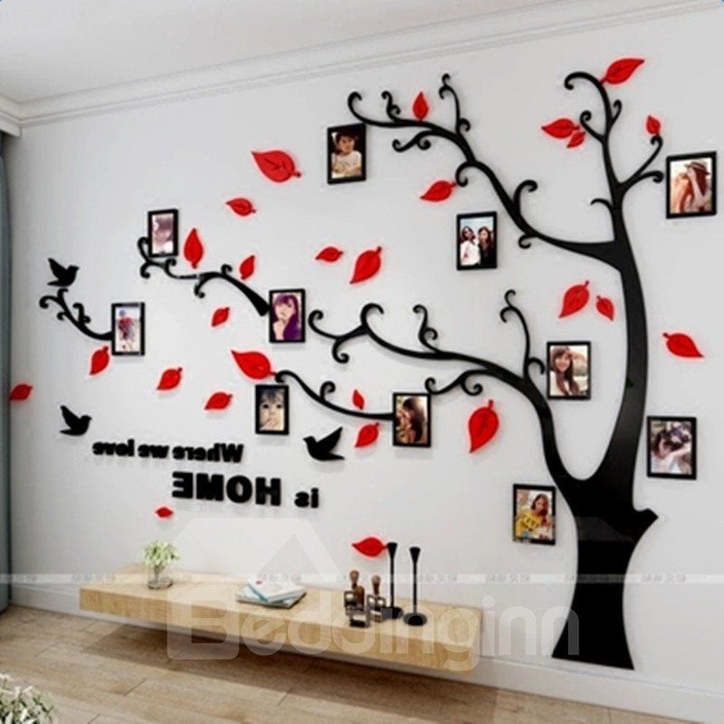 Photo Frame Tree Country Style Acrylic 3d Waterproof 11 Photo Frames Wall Stickers Beddinginn Com In 2020 Family Tree Wall Decor Family Tree Wall Art Frames On Wall