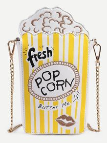Sac en forme de pop-corn avec chaîne - jaune