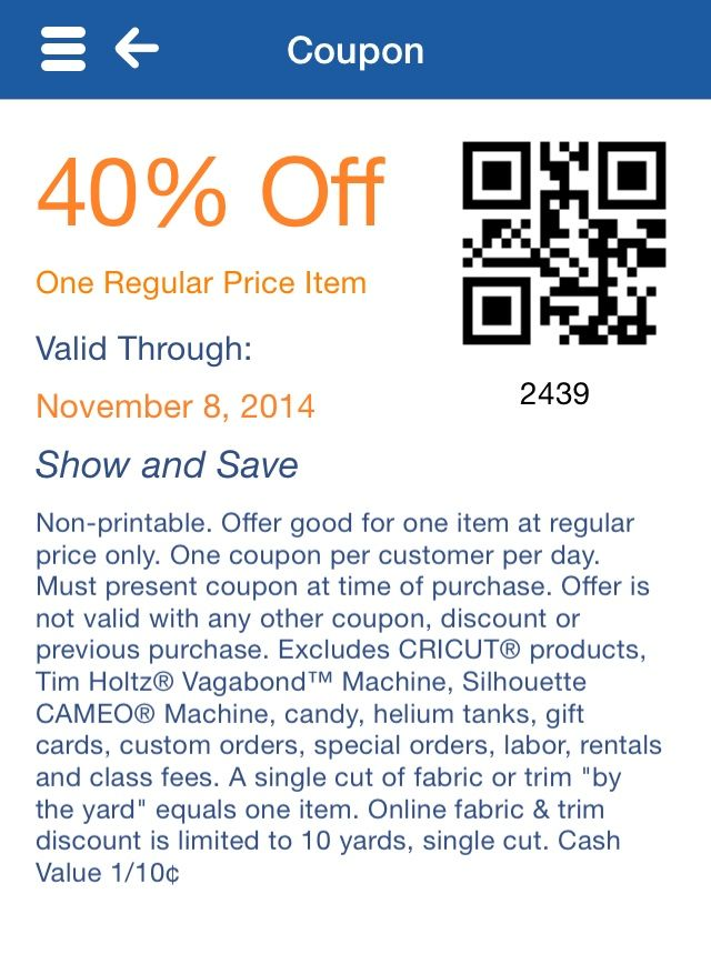 Hobby Lobby coupon from the app. hobbylobby diy (With