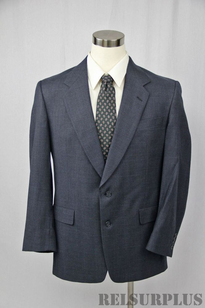 Hart Schaffner & Marx Men's Blue Wool 2-Button Single Vest Sportcoat Sz 42 L 42L #HartSchaffnerMarx #TwoButton