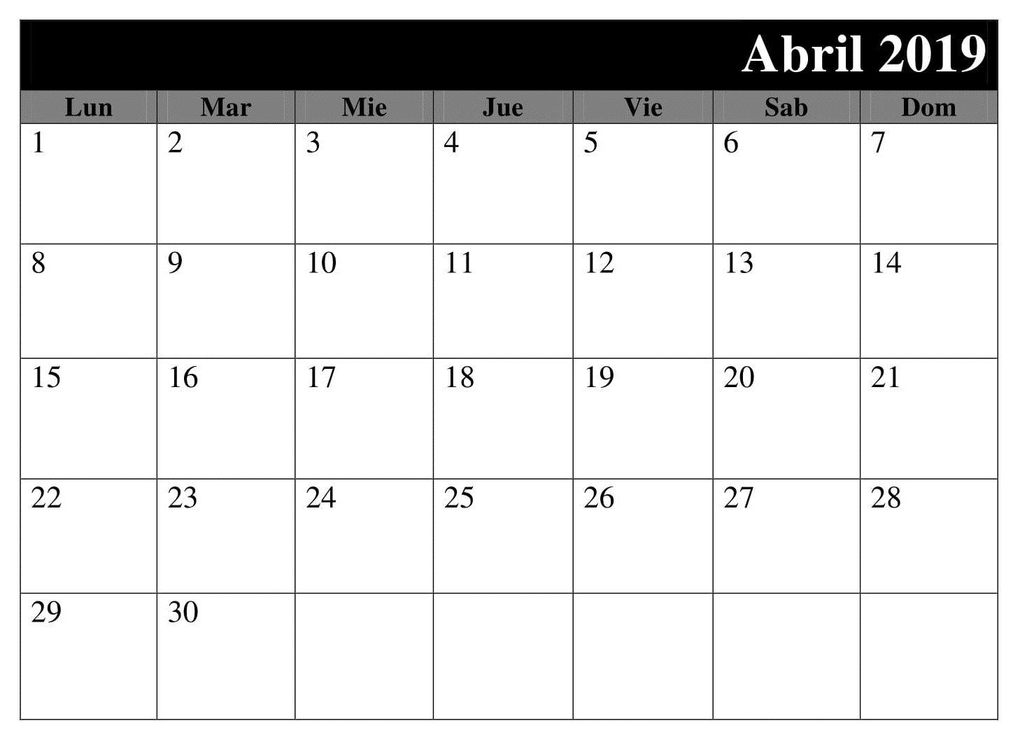 Calendario Imprimir Abril 2019.Calendario Grande 2019 Para Imprimir Abril Calendario Abril 2019