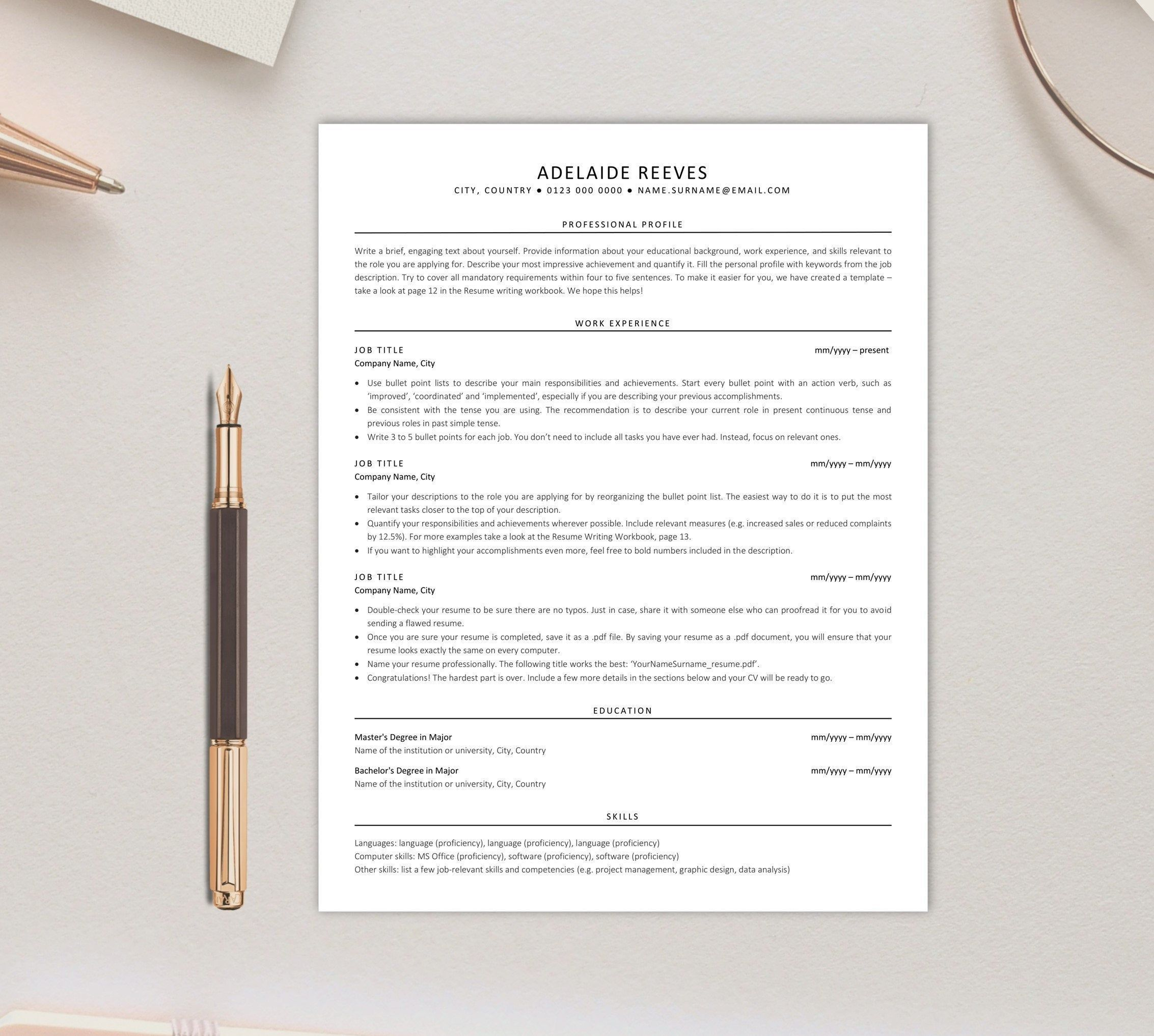 Executive Resume, ATSfriendly Resume Template, Instant