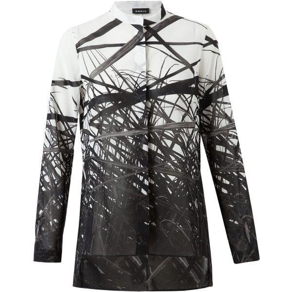 AKRIS Printed Cotton Gauze Shirt ($900) ❤ liked on Polyvore