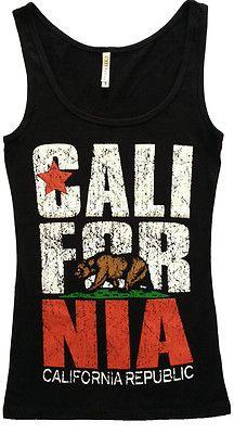 California Republic WOMENS TANK TOP SHIRTS - Cali State Flag Bear Los  Angeles