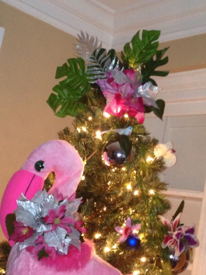 Luau Christmas. Tree topper. Made from Dollar Store flowers. Flamingo.  Dollar Store chic. - Luau Christmas. Tree Topper. Made From Dollar Store Flowers