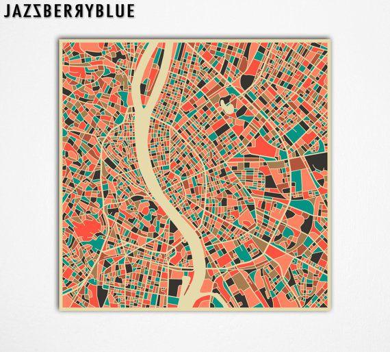 BUDAPEST Map HUNGARY Giclee Fine Art Print Modern by JazzberryBlue, $30.00