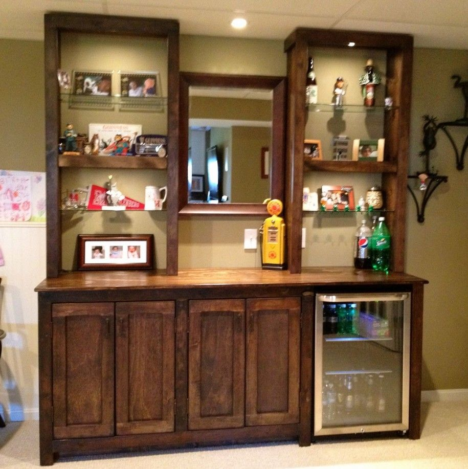 Charming Comfy Vintage Hutch Bar Design Ideas With Mirror Between Two Glass Rack  Base And 3 Cabinet Door : Enhancing Your Home Interior By Installing Bar  Cabinet ...