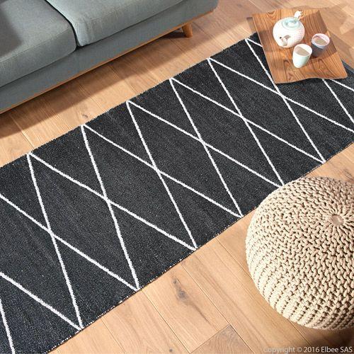 tapis de couloir en plastique 75 x 200 cm flatad noir plus - Tapis Couloir