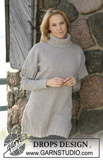 """DROPS jumper with high neck and Rib knitted in """"Angora-Tweed"""". Size S-XXXL ~ DROPS Design"""