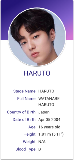 Watanabe Haruto Treasure Profile Treasures Yg Entertainment Kpop Profiles
