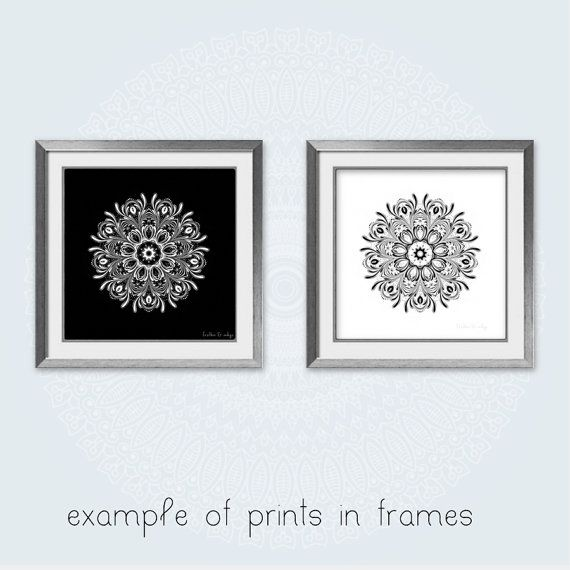 Black and white print set of 2 prints wall art by featherandindigo