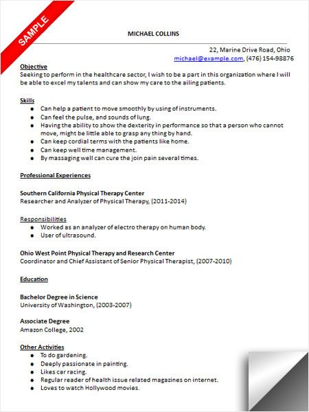 Resume Examples Physical Therapist Sample Free Massage Pta Assistant