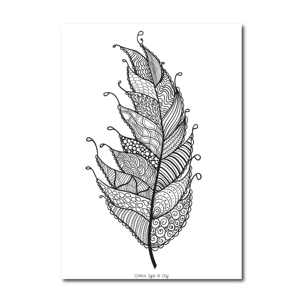 Feather Colouring Page Zentangle Inspired feather от CuriousType ...