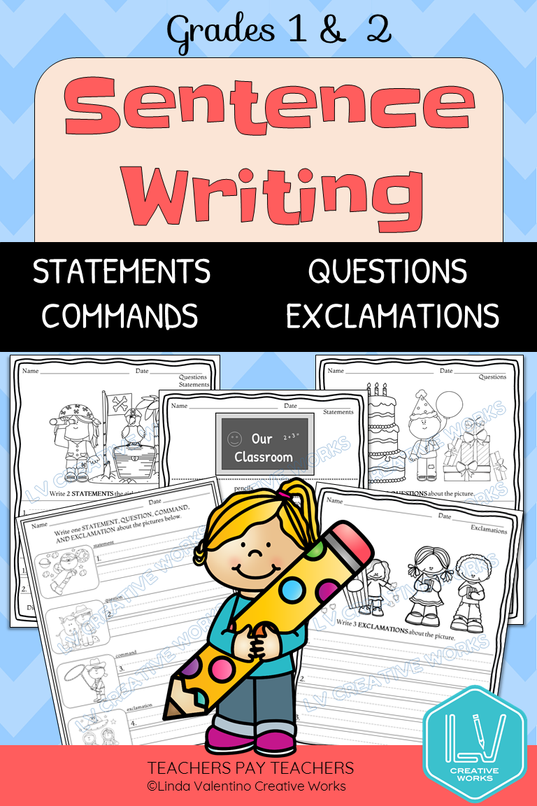 Sentence Writing Printables Grades 1 and 2 (Distance Learning) in 2020    Sentence writing [ 1152 x 768 Pixel ]