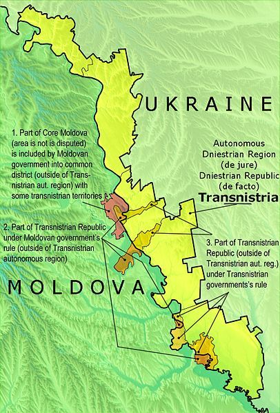 Political map of Transnistria with the differences between the