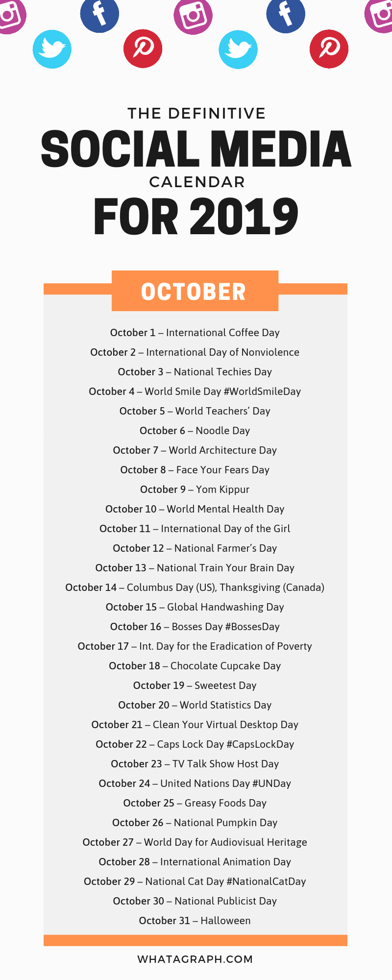 Social Media Holiday Calendar For October 2019 Social Media Calendar International Day Calendar Social Media