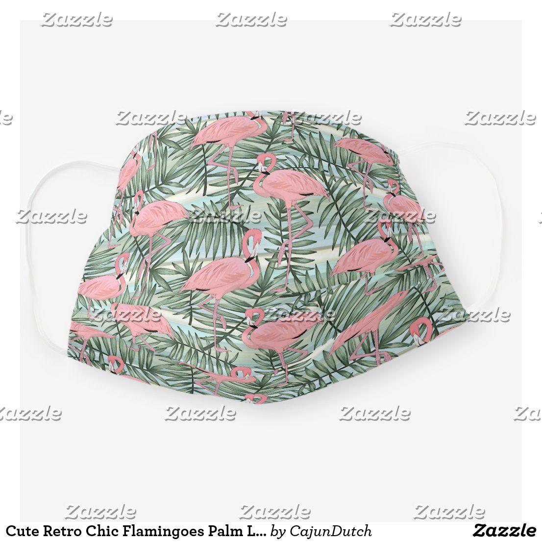 Tropical Hawaiian Pink Flamingoes Palm Tree Leaves