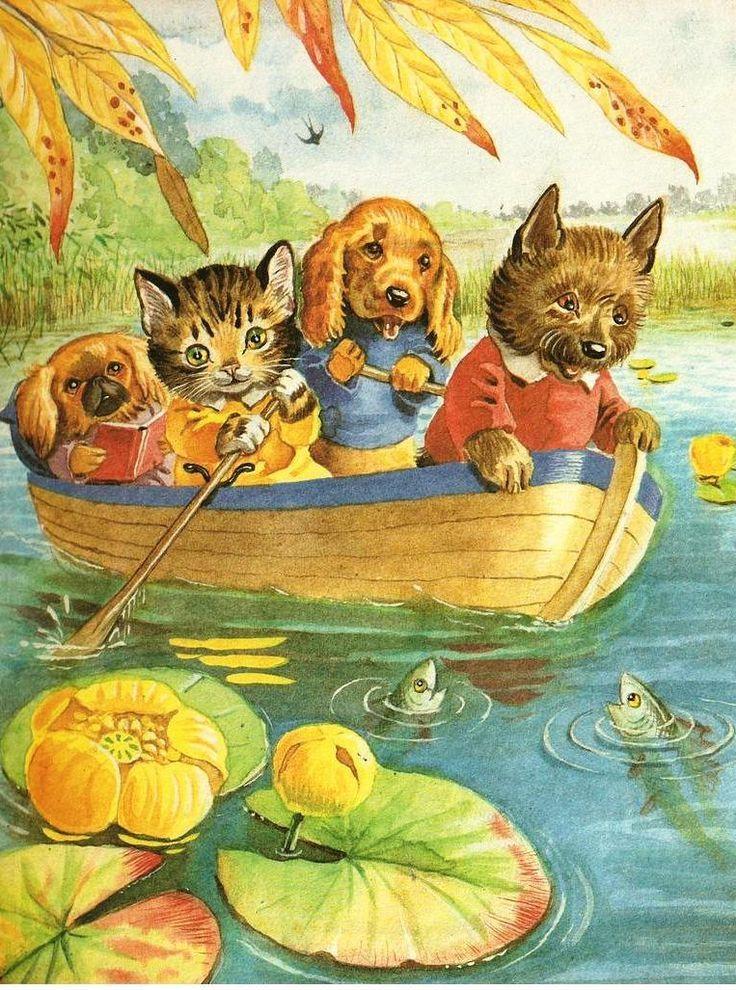 Golden book illistration storybook art cats