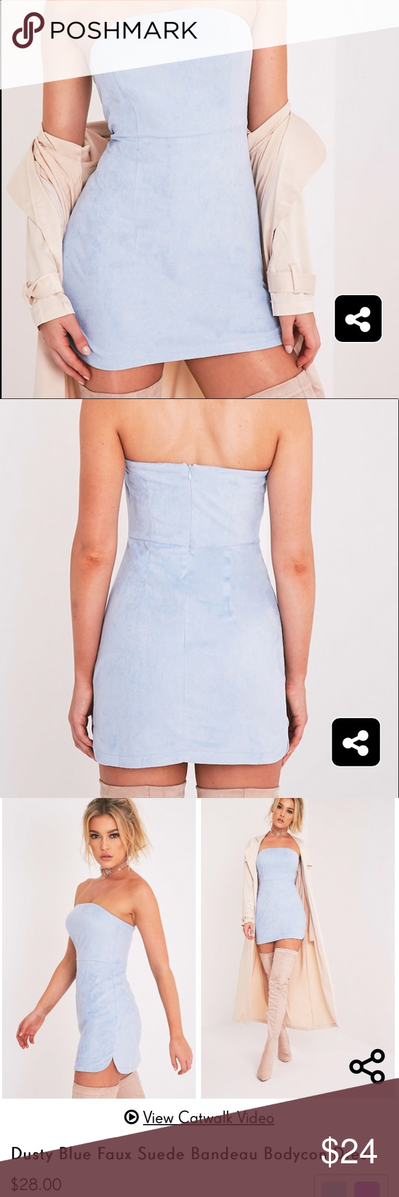 81b5bf84545 Dusty Blue Faux Suede Bandeau Bodycon Dress - UK Size  8 - US Size  4 - NWT  - Super cute it was just too big on me! -bust  14.5in -waist  13.5in -hip   ...