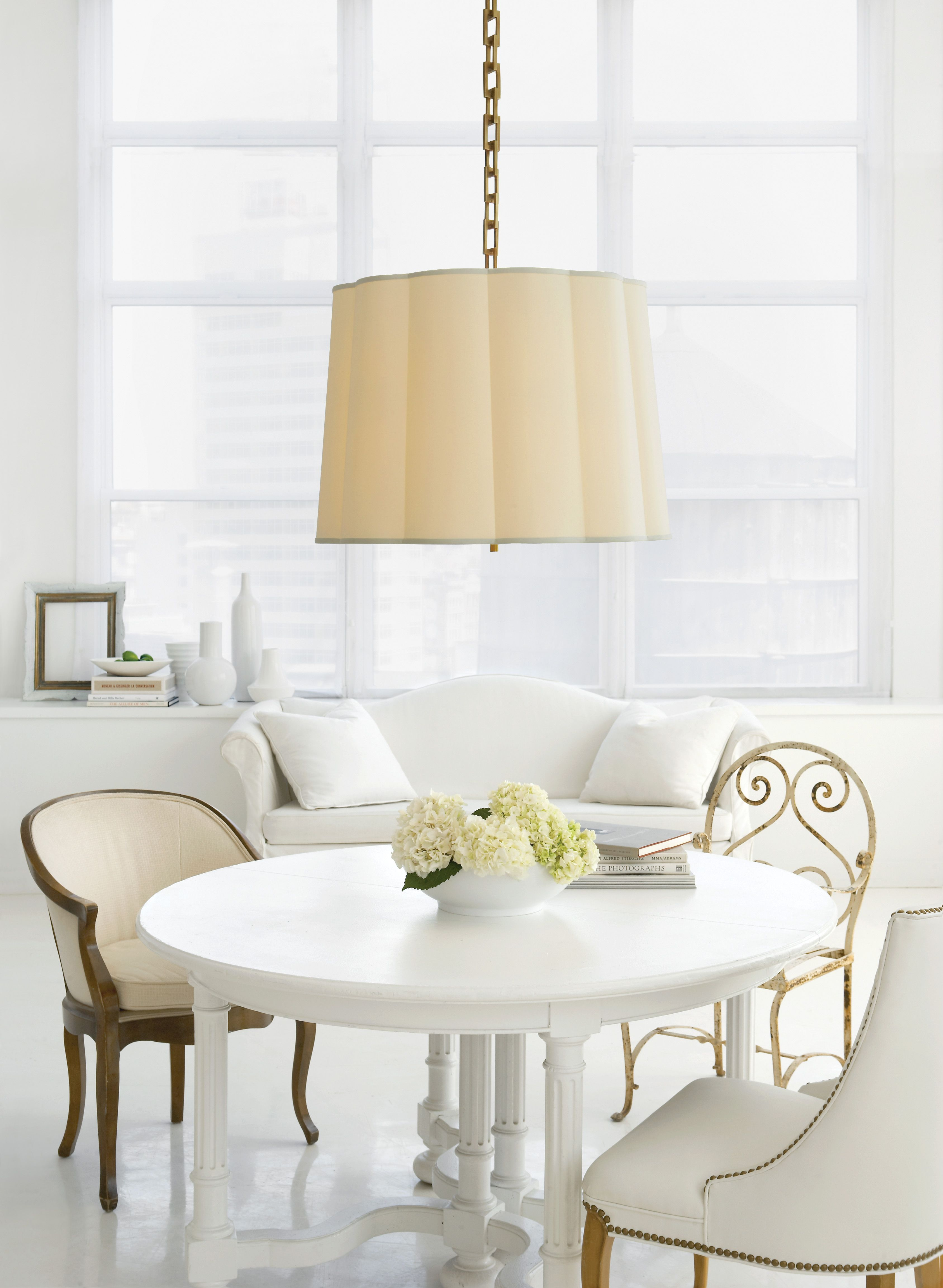 Visual Comfort Bbl 5015ss S Barbara Barry Modern Simple Scallop Large Hanging Shade In Soft Silver With Silk Shade Home Decor Visual Comfort Elegant Interiors