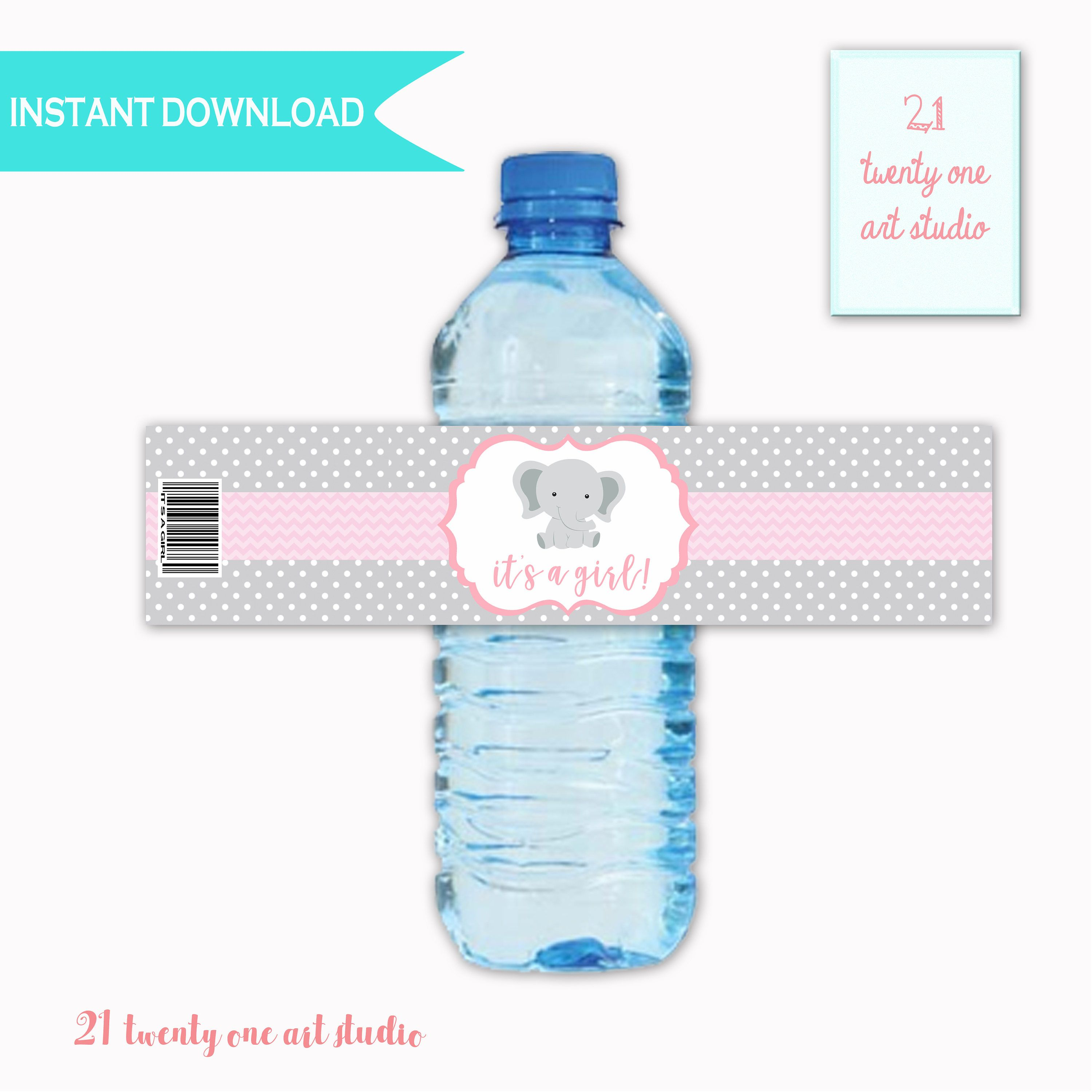 Elephant Baby Shower Water Label It s a Girl Baby Shower Water
