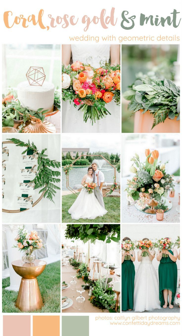 Vibrant Coral, Mint + Rose Gold Wedding with Awesome Geometric Deets