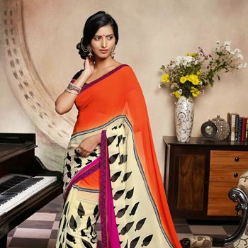 Orange, Cream and Dark Pink Faux Georgette Saree with Blouse