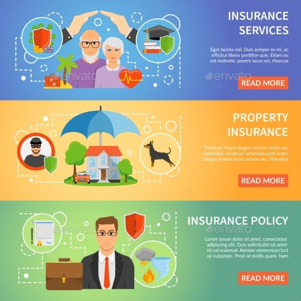 Insurance Service 3 Flat Banners Set Dolor