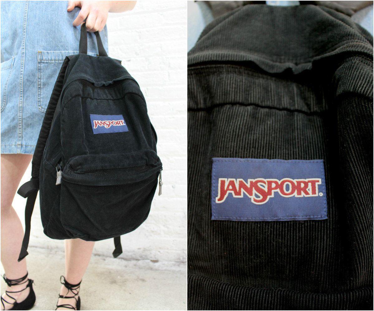 vintage black Jansport backpack / black corduroy book bag