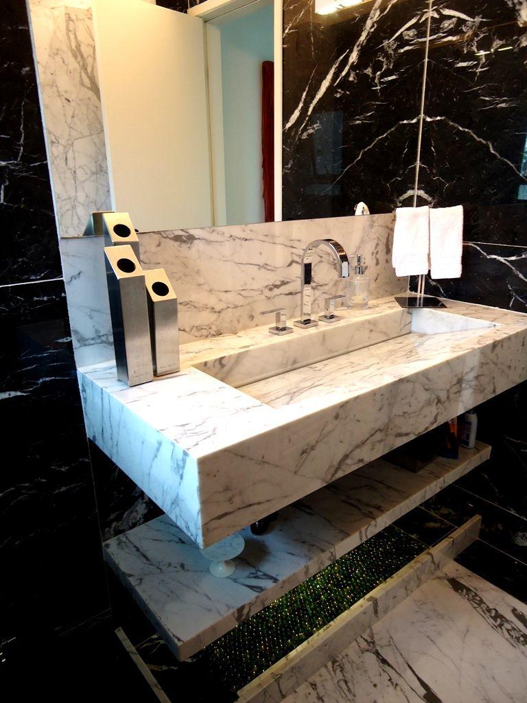 Preto E Branco No Lavabo Com Imagens Granito Para Banheiro