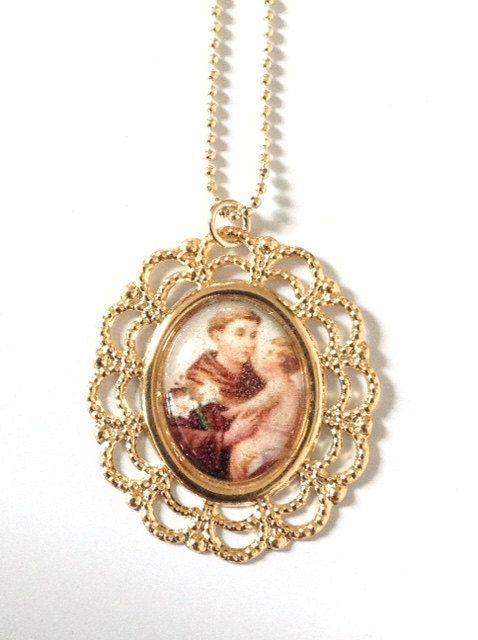 Saint anthony necklace st anthony of padua medal saint anthony gold saint anthony necklace st anthony of padua medal saint anthony gold pendant religious medals catholic jewelry catholic gifts san antonio aloadofball Choice Image