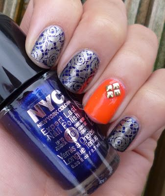 NYC 'Ink Stain' (dark blue) stamped with Barry M 'Gold Foil'